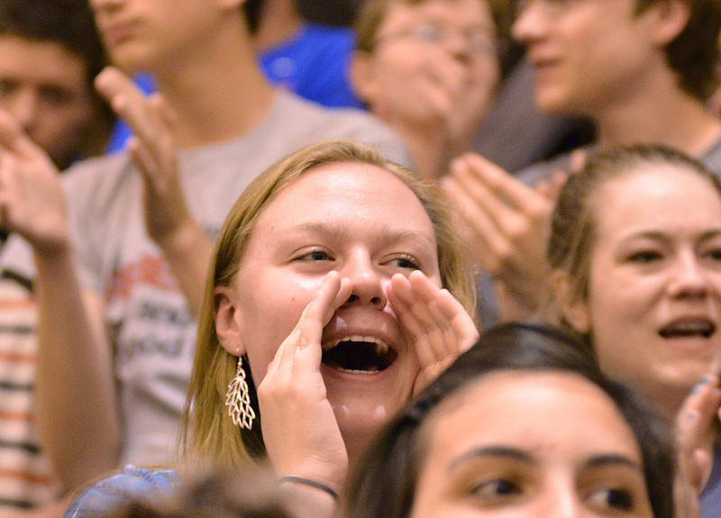 Alison Geary cheers for Hope Bowden during the talent show Wednesday at Sheridan High School.