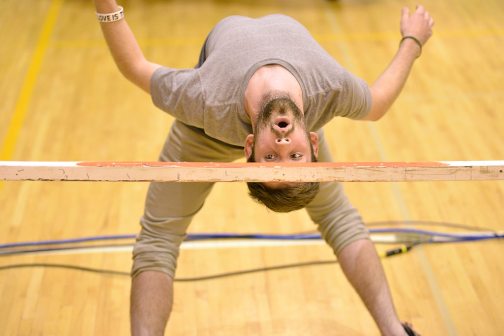 James Nield does the limbo dance during the talent show Wednesday at Sheridan High School. Nield went just under two feet to clear that last pass.