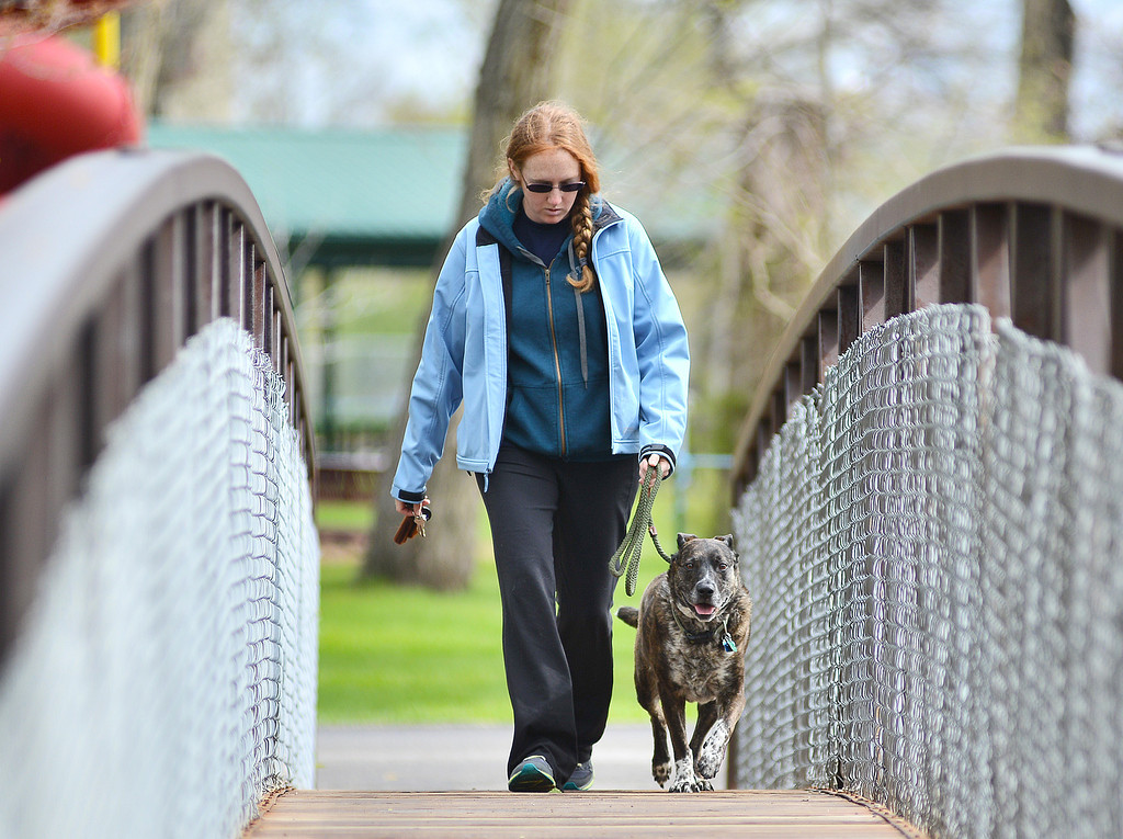 Sheridan resident Kati Closson crosses the Big Goose from Kendrick park to finish walking her dog Ky Friday morning.