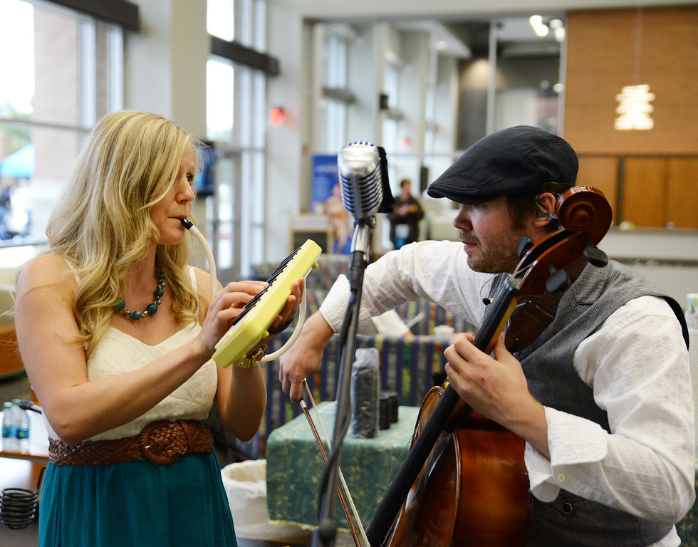 Heather Miller, left, and Mark Miller of 'So Long Solo' perform during the open house Wednesday in the Thorne-Rider Campus Center at Sheridan College. The Sheridan Press Justin Sheely.