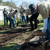 A team from Tennant Company from Minneapolis creating 3 garden beds at Blackland CDC