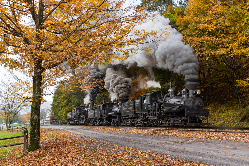 Cass Scenic Railroad Shays no. 4, 5 and 6 run in tandem at Cass.
