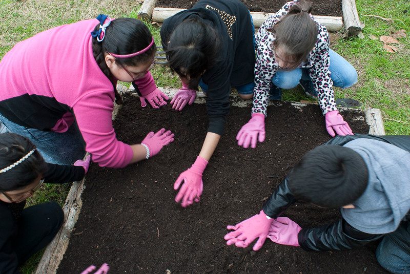 Students preparing a bed for planting at a Southwest Key school garden