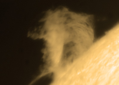 Prominence from south eastern quadrant.