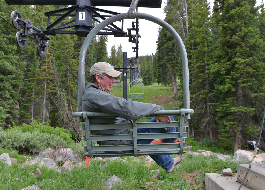 Justin Sheely | The Sheridan Press<br /> Mike Hinckley of Shell, Wyoming, relaxes in a ski lift bench during the Bighorn Mountains Brewfest Saturday at the Antelope Butte ski area.