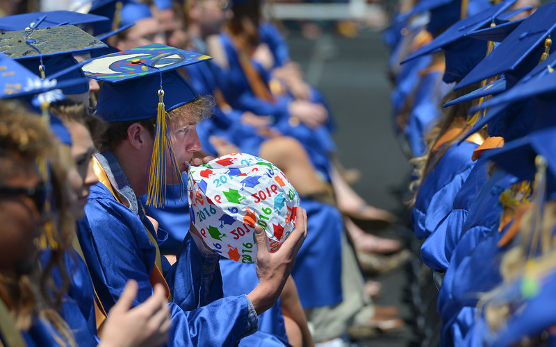 Justin Sheely | The Sheridan Press<br /> Wyatt Dobbs quietly inflates a ball during the 2016 commencement ceremony at Sheridan High School.