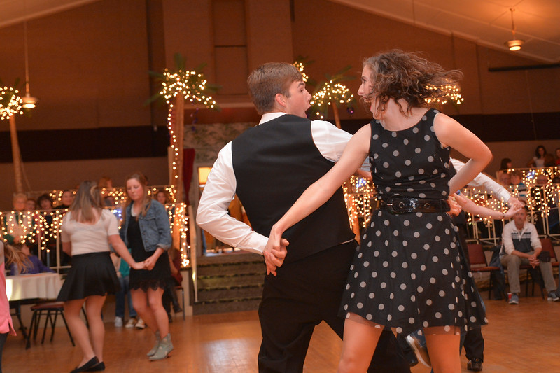 Justin Sheely | The Sheridan Press<br /> Sheridan High School students Quinton Brooks dances with Katie Campbell during the Sheridan High School Jazz Band Dance Wednesday evening at the Kalif Shrine Center. The fundraiser was to support the Sheridan High School music programs.