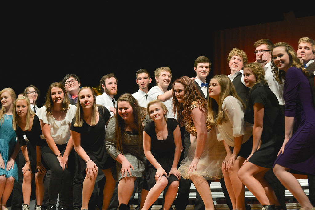 Justin Sheely | The Sheridan Press<br /> The Honor Choir closes the night with 'Shut Tup and Dance with Me!' during the Pops Choir concert Tuesday at Sheridan High School.