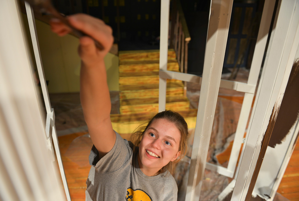 "Justin Sheely | The Sheridan Press<br /> Sheridan High School sophomore Gia Vaira paints a window frame during set production Thursday for the upcoming play ""Arsenic and Old Lace"" at the Sue Henry Auditorium at Sheridan High School. The show is directed by Erin Kranz and performed by SHS students. Showtimes are November 10, 11 and 12 at 7 p.m. and Sunday matinee, Nov. 13 at 2 p.m. Tickets are $7 for adults, $5 for students, seniors and military."
