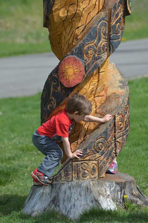 Justin Sheely | The Sheridan Press<br /> Three-year-old Oliver Houck plays on a carved tree stump during the City Tree Day Saturday at Kendrick Park. The events at Kendrick park were presented by Sheridan's Tree Board in celebration for National Arbor Day, which is April 29. The city of Sheridan is now in its 8th year as a designated Tree City USA and it is also the only city in Wyoming that has the Tree Campus USA designation.