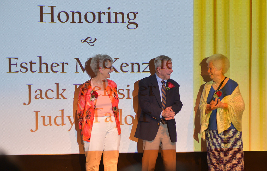 Justin Sheely | The Sheridan Press<br /> Keystone honorees, from left, Judy Taylor, Jack Pelissier and Esther McKenzie are recognized on stage during the 2016 Keystone Awards Thursday evening at the WYO Theater.
