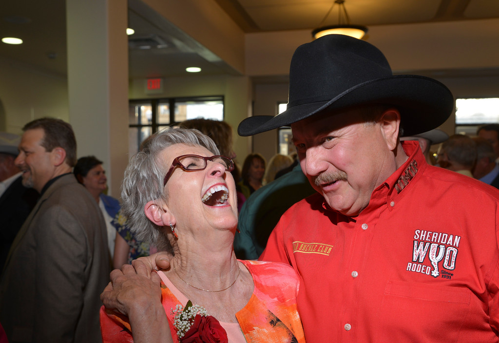 Justin Sheely | The Sheridan Press<br /> Keystone honoree Judy Taylor, left, and Billy Craft share a laugh during the reception for the 2016 Keystone Awards Thursday evening at the WYO Theater.