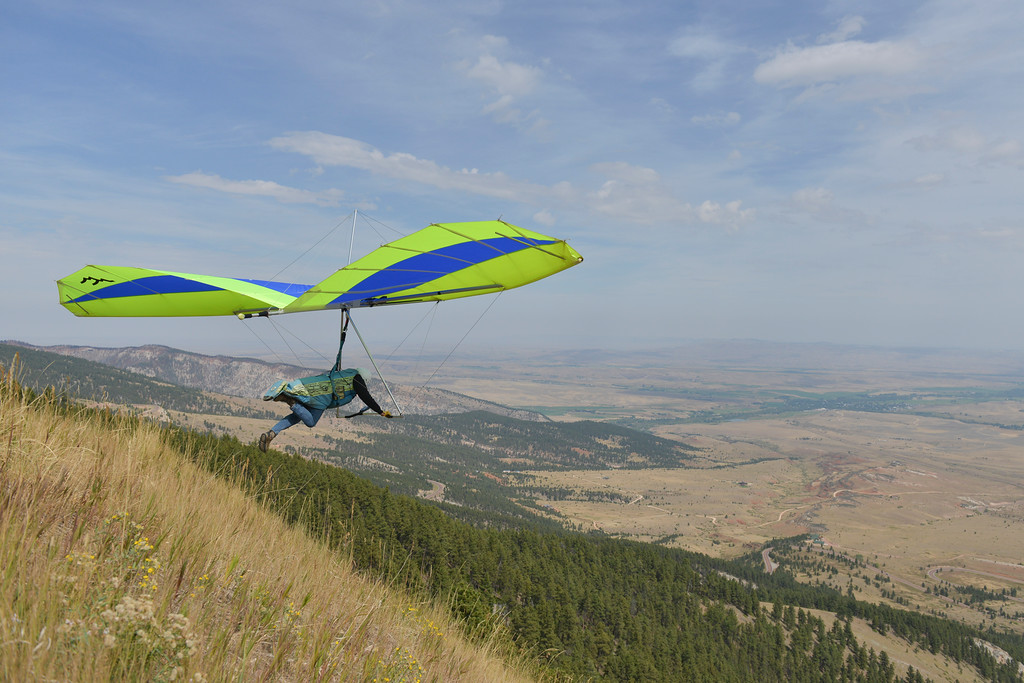 Justin Sheely | The Sheridan Press<br /> Jim Bowman is the first to test the air during the hang gliders fly-in Saturday at sand turn west of Dayton. Hang gliders from across the nation come to the Bighorn Mountains every Memorial Day and Labor Day weekends to take advantage of the ideal flying condition that the eastern slopes have to offer.