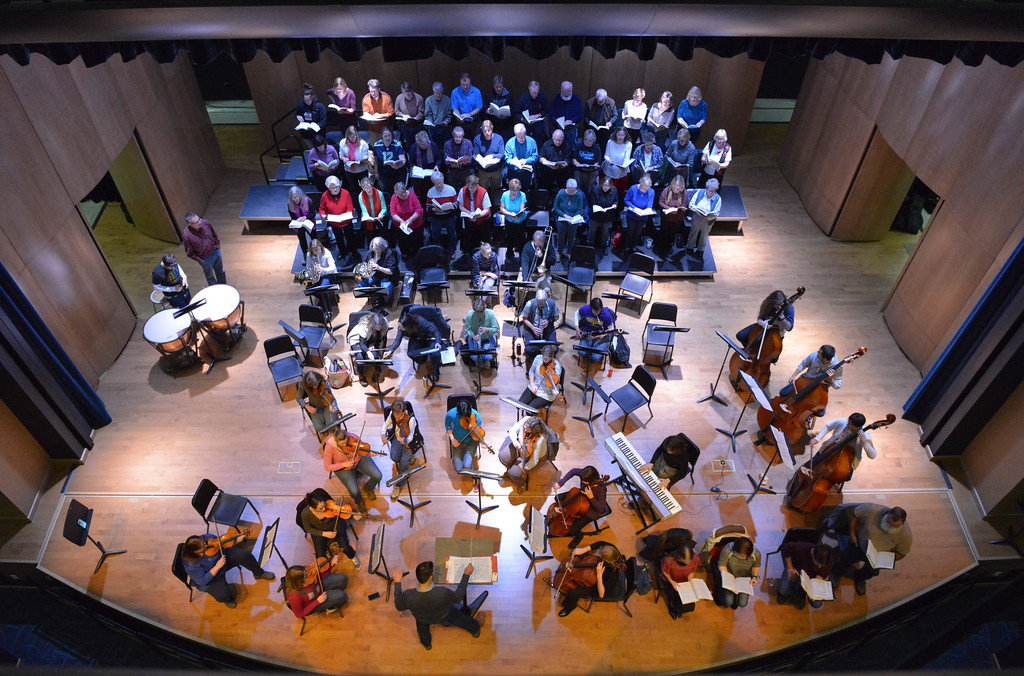 Justin Sheely | The Sheridan Press<br /> The Sheridan College choir and orchestra performs during a rehearsal Sunday for Handel's Messiah in the Whitney Center for the Arts concert hall at Sheridan College.