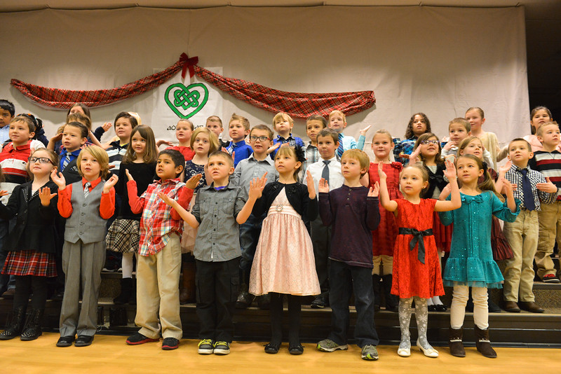 Justin Sheely | The Sheridan Press<br /> First graders sing Christmas songs during the Christmas program Tuesday at Coffeen Elementary School.