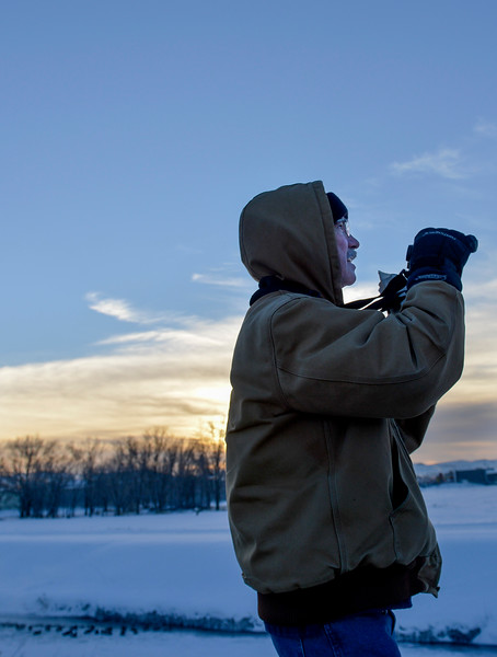 Justin Sheely | The Sheridan Press<br /> Jim Smith searches a nearby tree for birds during the annual Christmas Bird Count Thursday in Sheridan. The Audubon Society hosts the Christmas Bird Count to keep track of bird populations and migratory behaviors. The count is carried out by volunteers across the nation.