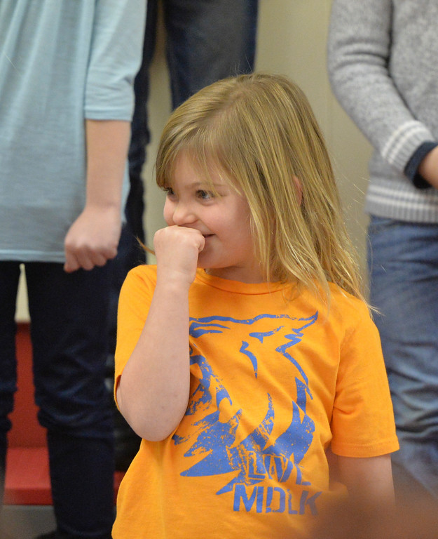 Justin Sheely | The Sheridan Press<br /> Megan Varah pauses between songs during the Kids Chorus program Thursday at the YMCA. The program is offered for kids Kindergarten through third grade to learn the foundations of music. The program resumes in January at the YMCA.