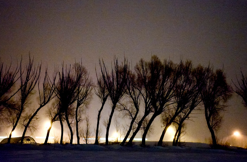 Justin Sheely | The Sheridan Press<br /> Snow falls as the Sheridan High School parking lot lights shine through a row of trees Friday night. Temperature fell to 23 degrees below zero Saturday morning.