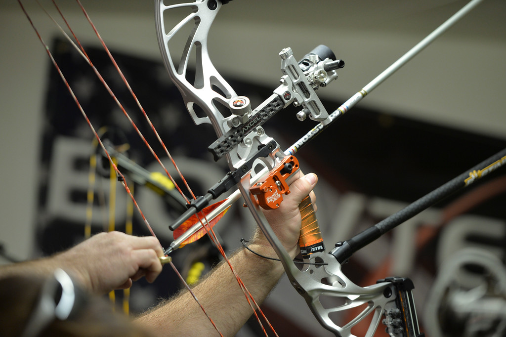 Justin Sheely | The Sheridan Press<br /> A shooter draws his bow during the 1st Annual Wyoming Open Archery Competition Saturday at Rocky Mountain Discount Sports. The event hosted professional player from the region along with local shooters.