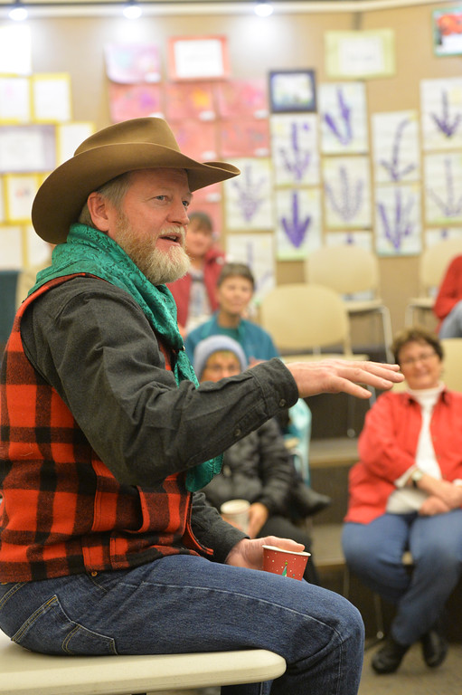 Justin Sheely | The Sheridan Press<br /> Longmire series author Craig Johnson speaks during a book reading Saturday at the Sheridan County Fulmer Public Library. The local author made a series of stops in Sheridan Saturday for public book readings.