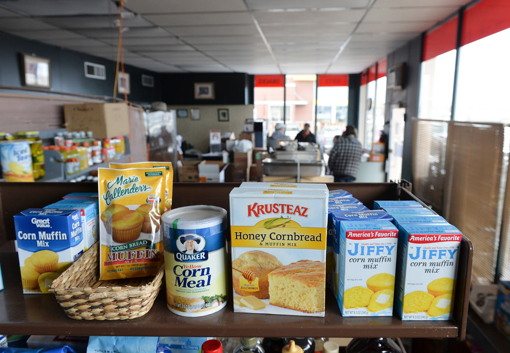 Justin Sheely | The Sheridan Press<br /> Shelves full of food are seen Monday at the People Assistance Food Bank on N. Main Street. The Food Bank's founder Dan Lick died September 30, 2016 – the volunteers are working to honor Lick's vision this holiday season.