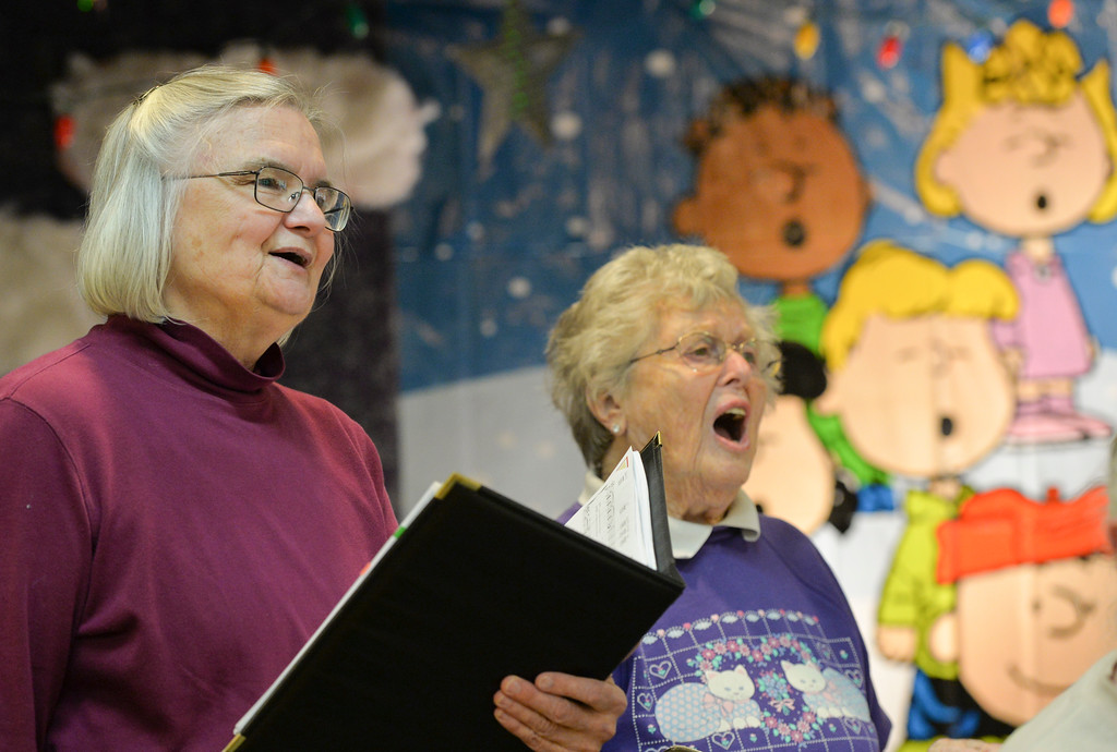 Justin Sheely | The Sheridan Press<br /> Georgia Foster, left, and Alice Sholine sing during practice Tuesday for the Sheridan Aires Choir at the Sheridan Senior Center. The Magic of Christmas choir will be held at the Senior Center Thursday, Dec. 1 at 1:30 p.m., a $2 donation is suggested. Deserts will be served prior to the show on Friday, Dec. 2 at 6:30 p.m., a $6 donation is suggested. This year's shows feature special guest AJ Longhurst.