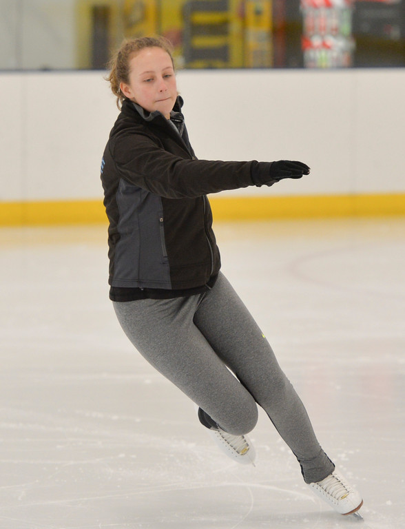 Justin Sheely | The Sheridan Press<br /> Sixteen-year-old Maggie Pierce readies for a spin during the Learn to Skate program Saturday at Whitney Ice Rink in the M&M's Center. Various programs are offered at Whitney Ice Rink, included Learn to Skate, youth and adult hockey leagues and competitive figure skating.