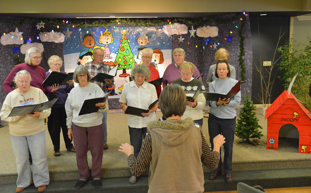 Justin Sheely | The Sheridan Press<br /> Sheridan Aires Choir members sing during practice Tuesday for the Magic of Christmas show at the Sheridan Senior Center. The Magic of Christmas choir will be held at the Senior Center Thursday, Dec. 1 at 1:30 p.m., a $2 donation is suggested. Deserts will be served prior to the show on Friday, Dec. 2 at 6:30 p.m., a $6 donation is suggested. This year's shows feature special guest AJ Longhurst.