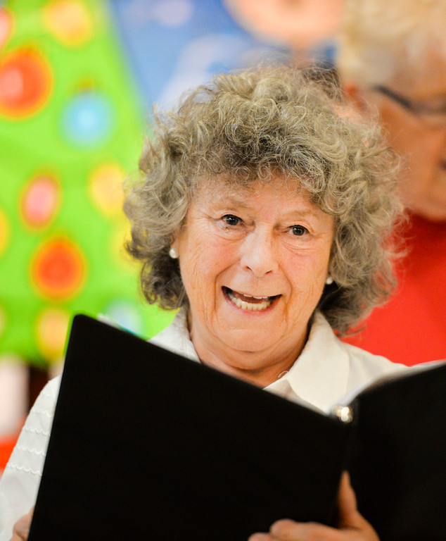 Justin Sheely | The Sheridan Press<br /> Sheridan Aires Choir member Sharon Rasmussen sings during practice Tuesday for the Magic of Christmas show at the Sheridan Senior Center. The Magic of Christmas choir will be held at the Senior Center Thursday, Dec. 1 at 1:30 p.m., a $2 donation is suggested. Deserts will be served prior to the show on Friday, Dec. 2 at 6:30 p.m., a $6 donation is suggested. This year's shows feature special guest AJ Longhurst.