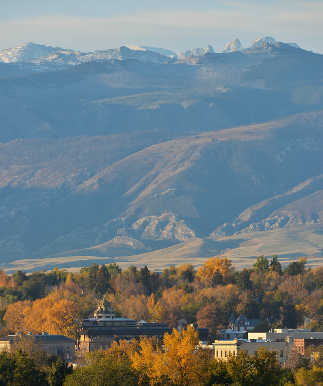 Justin Sheely | The Sheridan Press<br /> The Bighorn Mountains, autumn colors are highlighted by the morning light on a October morning in Sheridan.