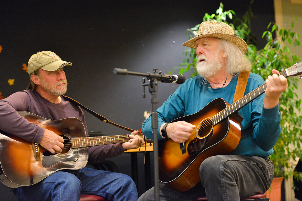Justin Sheely | The Sheridan Press<br /> Tony Engelhardt, left, and Kip Spencer of Buffalo perform during the Bluegrass Old Timey Jam Tuesday evening at the Sheridan Senior Center. The musicians meet every third Wednesday at the Senior Center at 7 p.m. to play bluegrass. The event is free and open to the public.