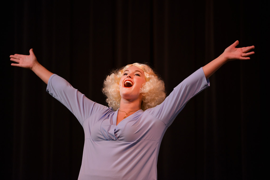 "Justin Sheely | The Sheridan Press<br /> Brekken Baker, as Maggie, sings during a rehearsal to the WYO Theater Gala ""Lend Me a Tenor"" Tuesday at the WYO Theater. The Gala reception is this Saturday at 5 p.m., curtain opens at 7 p.m. Encore performances are Oct. 27 - 29 at 7:30 p.m. and Sunday, Oct. 30 at 2 p.m."