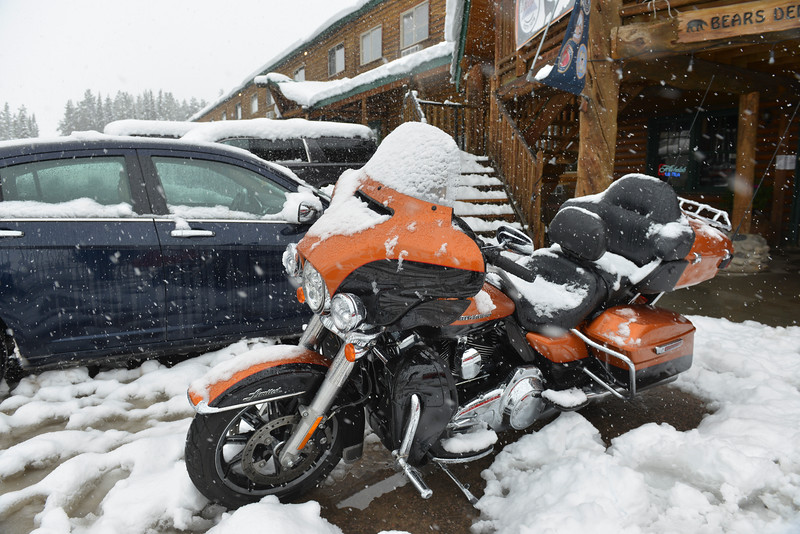 Justin Sheely | The Sheridan Press<br /> A motorbike collects snow at Bear Lodge Resort Saturday afternoon in the Bighorn National Forest. Heavy snow caused trees to bring down power lines leading to the popular mountain resort. Burgess junction reported up to 6 inches of accumulation as of Saturday afternoon.
