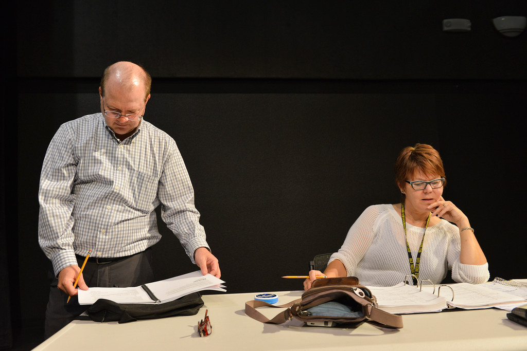 "Justin Sheely | The Sheridan Press<br /> Scott Bateman, left, and director Marva Craft read the script during a blocking rehearsal for the upcoming gala performance ""Lend Me a Tenor"" Thursday night at the WYO Theater."