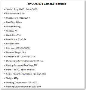 ZWO ASI071MC-Cool Specifications