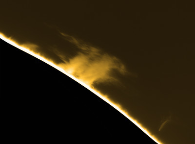 Prominence on western limb using Tele Vue 5x Barlow and ZWO ASI174MM