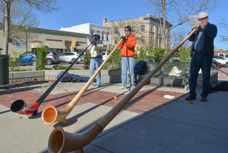 Justin Sheely | The Sheridan Press<br /> The Big Horn Alphorns play music on the corner of Main Street and Grinnell Plaza Saturday evening in Sheridan. The public can enjoy the alphorn music every Saturday from 4-5, as weather permits. From left, Edre Maier, Doug Moore and Dale Hoffmann.
