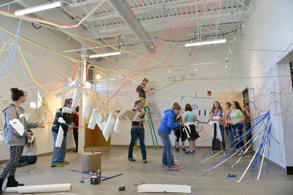 Justin Sheely | The Sheridan Press<br /> High school students work in the student gallery for a 3D drawing project during the High School Art Intensive Thursday at the Sheridan College Whitney Center for the Arts. High school students from the area were invited to experience various art forms and make installments at the college.