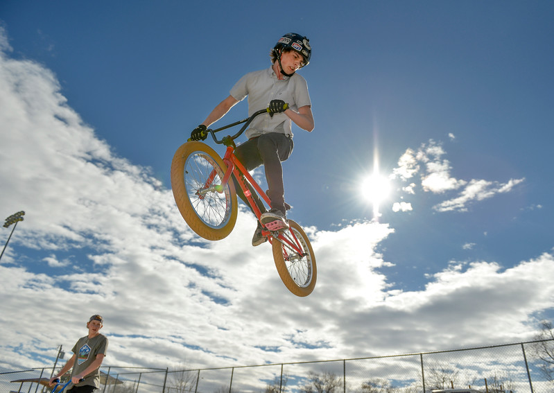 Justin Sheely | The Sheridan Press<br /> Tenth-grader Ethan Myers gets some air under his bike Wednesday at the Thorne-Rider skate park. The rest of the week will be sunny with temperatures in the 70s, expect cooler weather Saturday and Sunday with chances of rain.