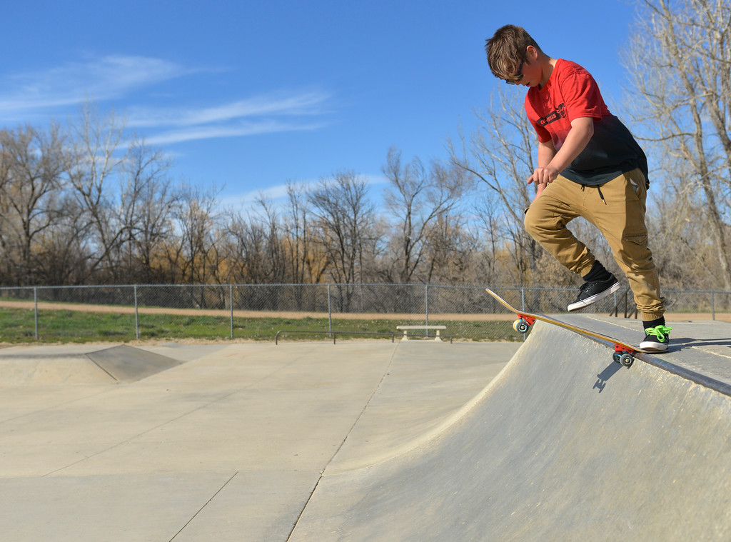 Justin Sheely | The Sheridan Press<br /> Fifth-grader Quenton Firber hops on his skateboard Wednesday at the Thorne-Rider skate park. The rest of the week will be sunny with temperatures in the 70s, expect cooler weather Saturday and Sunday with chances of rain.