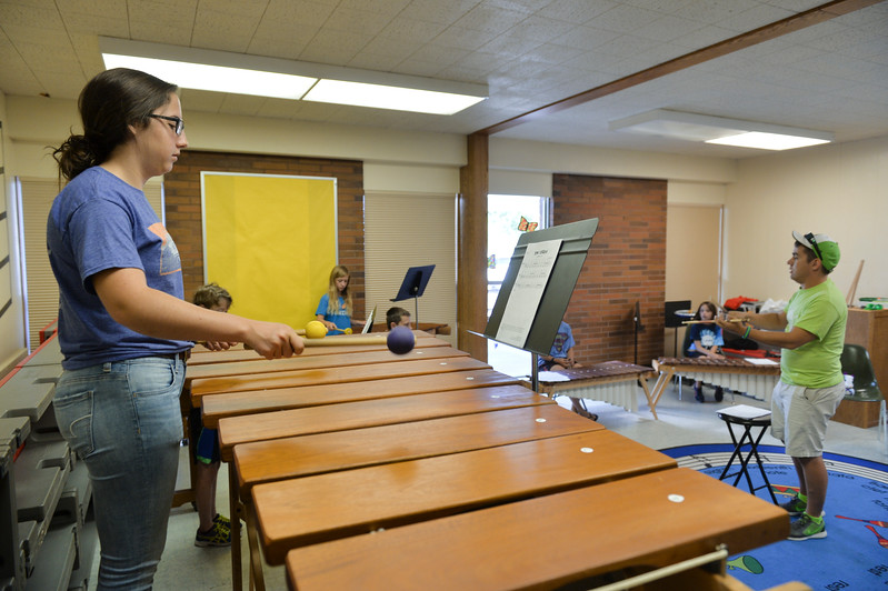 Justin Sheely | The Sheridan Press<br /> Fifteen-year-old Pyper Tiffany plays notes during the African Marimba Camp on Thursday. The students had two-hour sessions each day of the camp before their show on Friday. Most of the students were playing the instrument for the first time.
