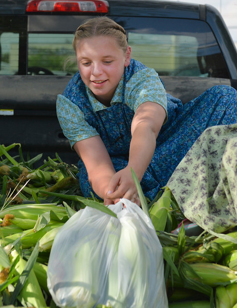 Justin Sheely | The Sheridan Press<br /> Fourteen-year-old Hutterite Leah Walter of the 40 Mile Colony Ranch near Lodge Grass, Montana, prepares sacks of corn during the weekly farmers market Thursday afternoon on Grinnell Plaza.