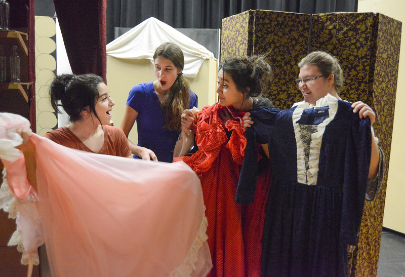 "Justin Sheely | The Sheridan Press<br /> Students, from left, Aliya Gauna, Macey McArthur, Corrim Lamere and Kayla Stimpson compare dresses during a rehearsal for ""The Great Tie Flume"" Tuesday at Tongue River High School. The play, written by Tongue River High School teacher Jason McArthur, focuses on life working on the tie flume in the Bighorn Mountains. The show is free, but tickets are required since seating is limited. Curtain opens March 7, 8 and 9 at 7 p.m. Dinner fundraiser is March 7 at 5 p.m. at Tongue River High School. Call Tongue River High School for tickets: 307-655-2236."