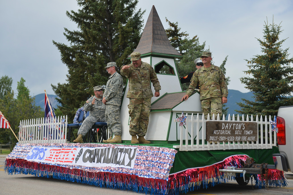 Justin Sheely | The Sheridan Press<br /> Service men ride a parade float during the annual Dayton Days Parade on Saturday.