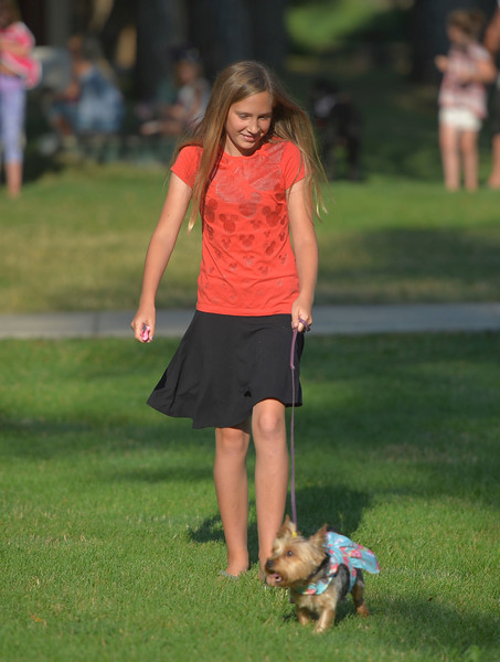 Justin Sheely | The Sheridan Press<br /> Elly Vollmer walks her dog Charlotte in the Pet Parade during Dayton Days Friday evening at Scott Park in Dayton.