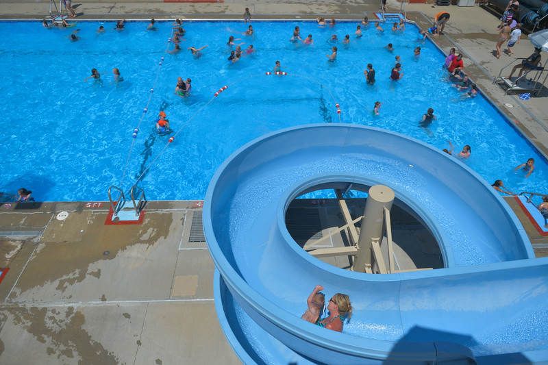 Justin Sheely | The Sheridan Press<br /> People enjoy the cool water Wednesday at Kendrick Pool. The pool is open 1 - 7 p.m. daily, Sunday admission is only $1. The pool closes for the season August 26.