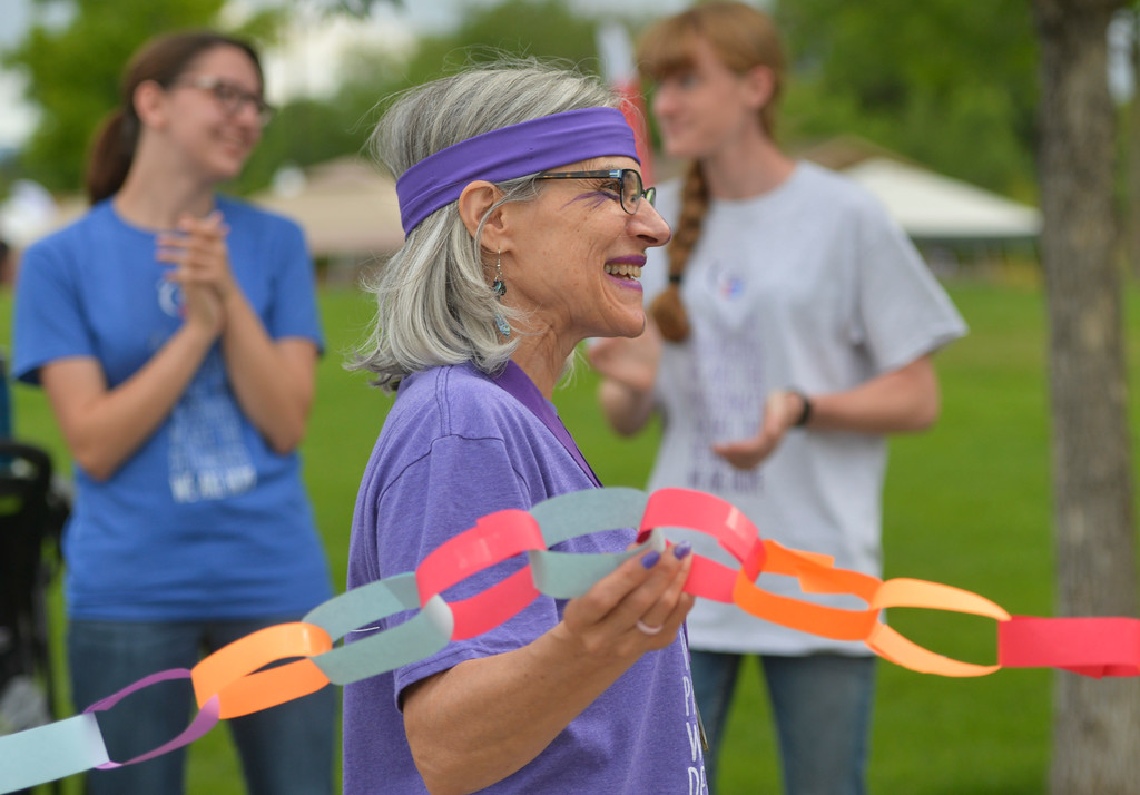 Justin Sheely | The Sheridan Press<br /> Six-year survivor Michelle LaGory walks the survivors' lap during the annual Relay for Life event Saturday at Whitney Commons Park.