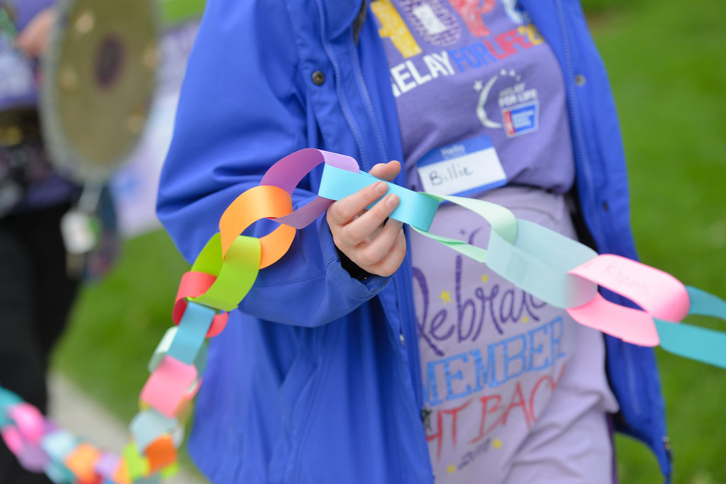 Justin Sheely | The Sheridan Press<br /> Survivors hold the paper chain representing total years living with cancer during the annual Relay for Life event Saturday at Whitney Commons Park.