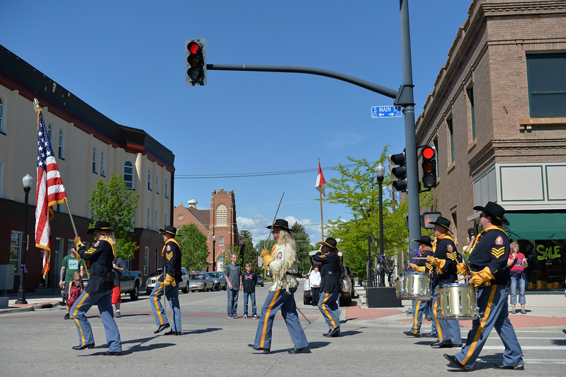 Justin Sheely | The Sheridan Press<br /> The American Legion Post 7 Drum and Bugle Corps marches during the Memorial Day Parade Monday on Main Street.
