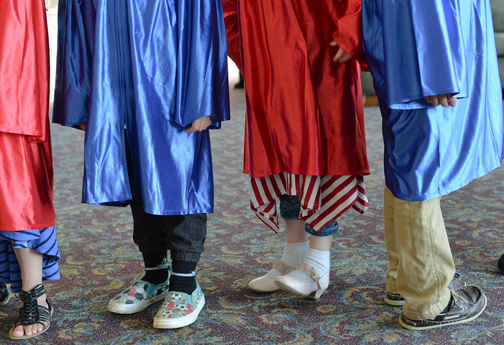 Justin Sheely | The Sheridan Press<br /> Graduates line up outside the doors during the Children's Center annual Preschool Graduation Tuesday at Sheridan Wesleyan Church. The Children's Center had 35 students graduate, which is the largest group the preschool held.